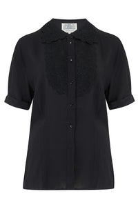 The Seamstress Of Bloomsbury Lacey Blouse in Black , Authentic & Classic 1940s True Vintage Style - RocknRomance Clothing