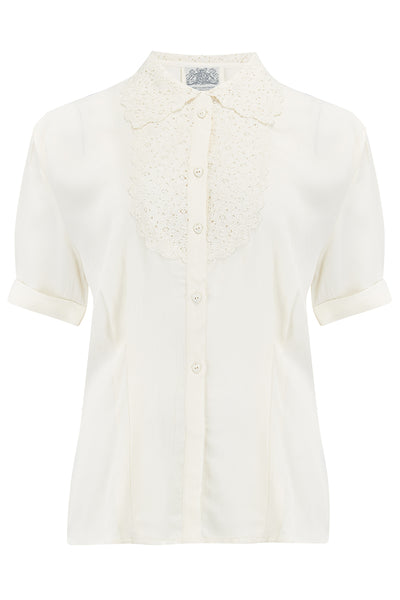 Lacey Blouse in Cream, Authentic & Classic 1940s Vintage Style - RocknRomance True 1940s & 1950s Vintage Style