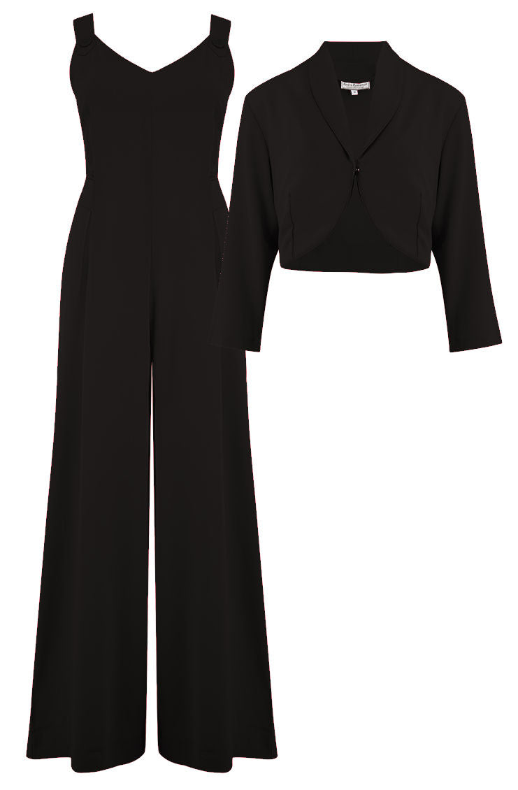 "Rock n Romance The ""Lana"" Plazo Jump Suit & Bolero 2pc Set in Black, Easy To Wear Vintage Style - RocknRomance Clothing"