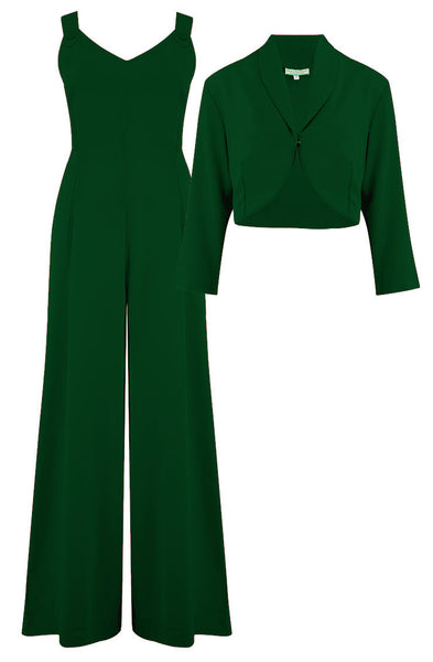 "Rock n Romance The ""Lana"" Plazzo Jump Suit & Bolero 2pc Set in Green, Easy To Wear Vintage Style - RocknRomance Clothing"