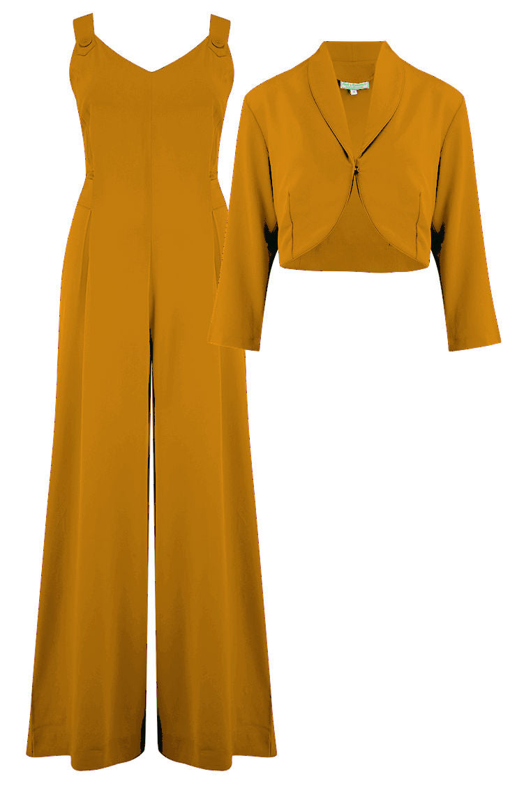 "Rock n Romance The ""Lana"" Plazzo Jump Suit & Bolero 2pc Set in Mustard, Easy To Wear Vintage Style - RocknRomance Clothing"