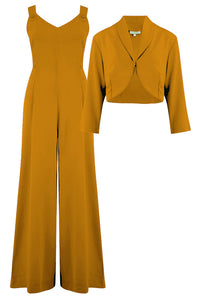 "Rock n Romance The ""Lana"" Plazo Jump Suit & Bolero 2pc Set in Mustard, Easy To Wear Vintage Style - RocknRomance Clothing"
