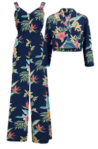"The ""Lana"" Jump Suit & Bolero 2pc Set in Navy Honolulu, Classic 1950s Tiki Style - RocknRomance True 1940s & 1950s Vintage Style"
