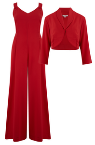 "The ""Lana"" Plazzo Jump Suit & Bolero 2pc Set in Red, Easy To Wear Vintage Style - RocknRomance True 1940s & 1950s Vintage Style"