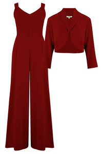 "The ""Lana"" Plazzo Jump Suit & Bolero 2pc Set in Wine, Easy To Wear Vintage Style - RocknRomance True 1940s & 1950s Vintage Style"