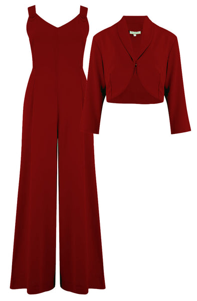 "Rock n Romance **Pre-Order** ""Lana"" Plazo Jump Suit & Bolero 2pc Set in Wine, Easy To Wear Vintage Style - RocknRomance Clothing"