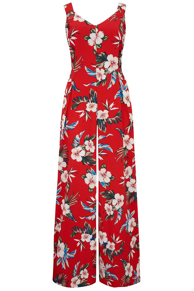 "The ""Lana"" Jump Suit in Red Hawaiian Print, Perfect 1950s Vintage Style - RocknRomance True 1940s & 1950s Vintage Style"