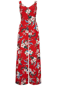 "Rock n Romance The ""Lana"" Jump Suit in Red Hawaiian Print, Perfect 1950s Vintage Style - RocknRomance Clothing"