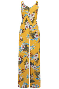 "Rock n Romance ""Lana"" Jump Suit in Mustard Hawaiian Print, Perfect 1950s Vintage Tiki Style - RocknRomance Clothing"