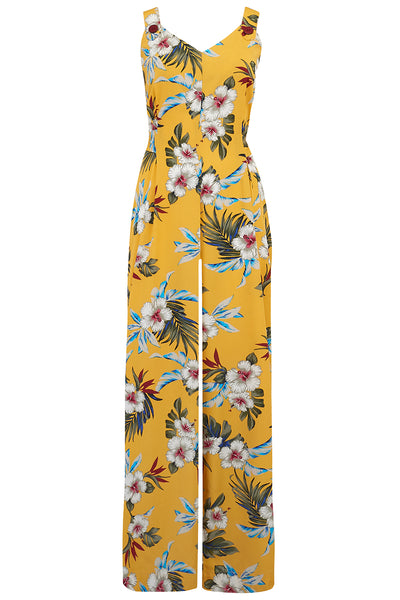 """Lana"" Jump Suit in Mustard Hawaiian Print, Perfect 1950s Style, New for SS19"