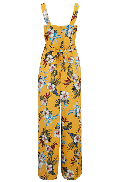 "Rock n Romance The ""Lana"" Jump Suit in Mustard Hawaiian Print, True & Authentic 1950s Vintage Tiki Style - RocknRomance Clothing"