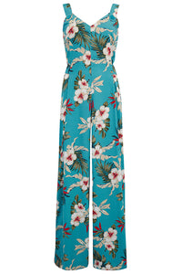 "Rock n Romance ""Lana"" Jump Suit in Teal Hawaiian Print, Perfect 1950s Tiki Style - RocknRomance Clothing"
