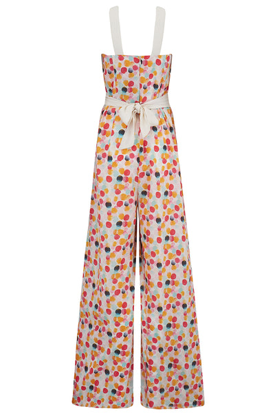 "RocknRomance Vintage ""Lana"" Jump Suit in Bubblegum Print, Perfect 1950s Style, New for SS19 Rockabilly Pinup"