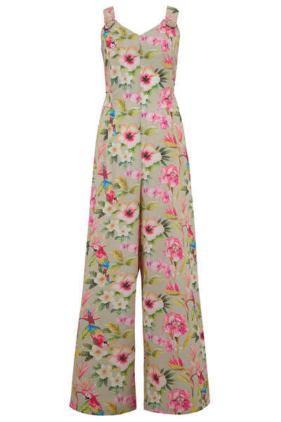 "Rock n Romance ""Lana"" Jump Suit in Paradise Print, Perfect 1950s Vintage Style - RocknRomance Clothing"
