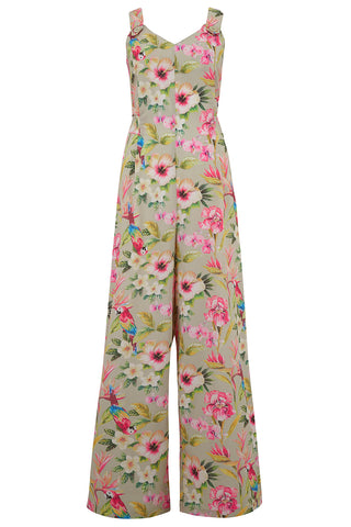 "RocknRomance Vintage ""Lana"" Jump Suit in Paradise Print, Perfect 1950s Style, New for SS19 Rockabilly Pinup"