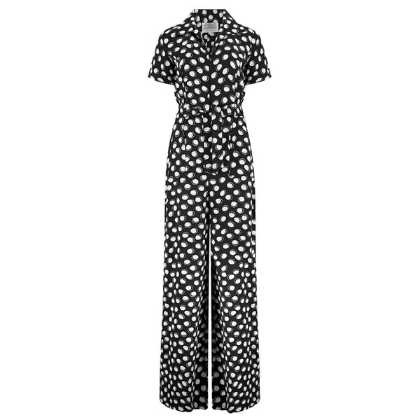 """Lauren"" Siren Jump Suit in Black Moonshine Spot by The Seamstress of Bloomsbury, Classic 1940s Vintage Style"
