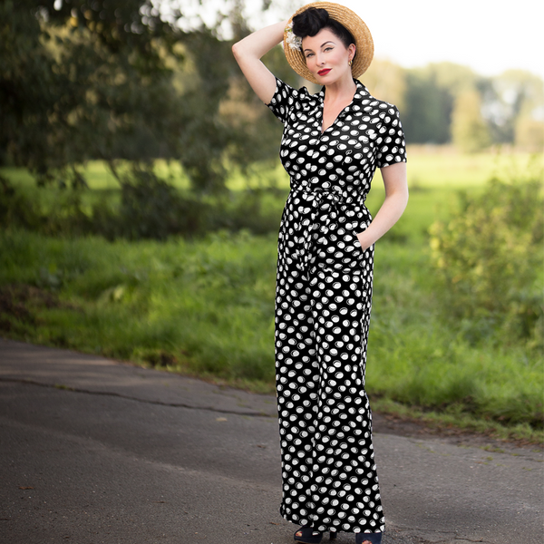 "The Seamstress Of Bloomsbury ""Lauren"" Siren Jump Suit in Black Moonshine Spot by The Seamstress of Bloomsbury, Classic 1940s Vintage Style - RocknRomance Clothing"