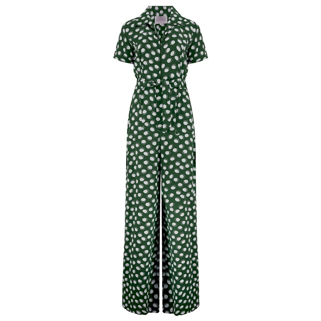 """Lauren"" Siren Jump Suit in Green Moonshine Spot by The Seamstress of Bloomsbury, Classic 1940s Vintage Style"