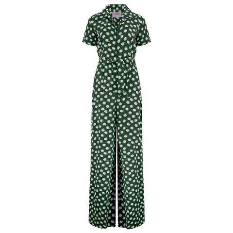 "The Seamstress Of Bloomsbury ""Lauren"" Siren Jump Suit in Green Moonshine Spot by The Seamstress of Bloomsbury, Classic 1940s Vintage Style - RocknRomance Clothing"