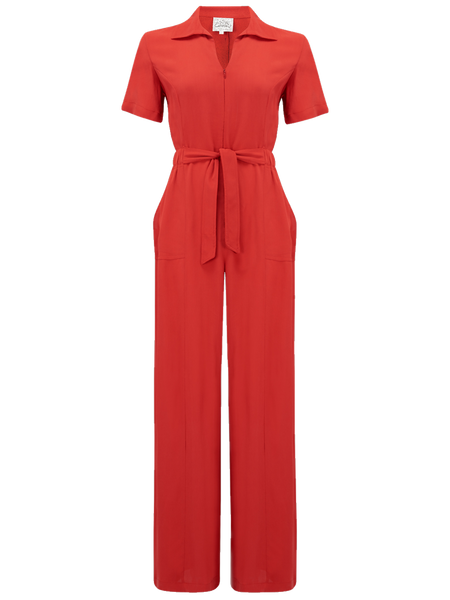"The Seamstress Of Bloomsbury ""Lauren"" Siren Jump Suit in Solid Red, Classic 1940s Vintage Style - RocknRomance Clothing"