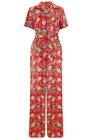 "The Seamstress Of Bloomsbury ""Lauren"" Siren Jump Suit in Slipper Atomic Satin Print by The Seamstress of Bloomsbury, Classic 1940s Vintage Style - RocknRomance Clothing"