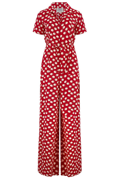 "The Seamstress Of Bloomsbury ""Lauren"" Siren Jump Suit in Red Moonshine Spot by The Seamstress of Bloomsbury, Classic 1940s Vintage Style - RocknRomance Clothing"