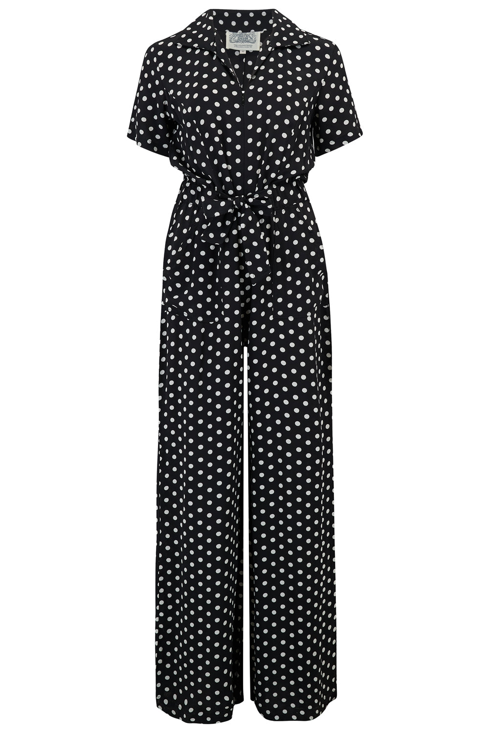 "The Seamstress Of Bloomsbury ""Lauren"" Siren Suit in Black Polka Dot, Authentic & Classic 1940s Style"