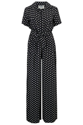 "The Seamstress Of Bloomsbury ""Lauren"" Siren Suit in Black Polka Dot, Authentic & Classic 1940s Style - RocknRomance Clothing"