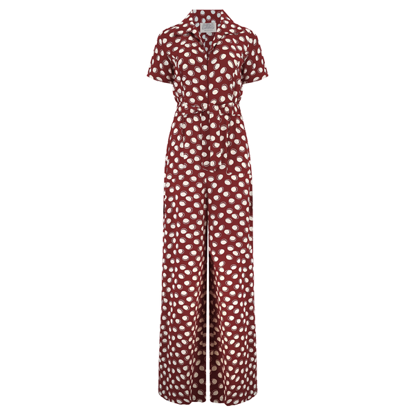 """Lauren"" Siren Jump Suit in Wine Moonshine Spot by The Seamstress of Bloomsbury, Classic 1940s Vintage Style"