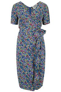 "The Seamstress Of Bloomsbury ""Lilian"" Dress in Pansy Print, Classic & Authentic 1940s Vintage Style - RocknRomance Clothing"