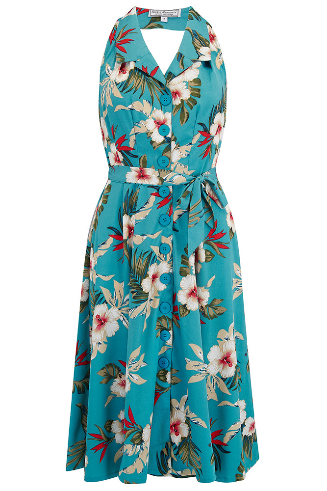 "Vintage ""Lindy"" Halter Dress in TEAL Hawaiian Print, Perfect 1950s Style"