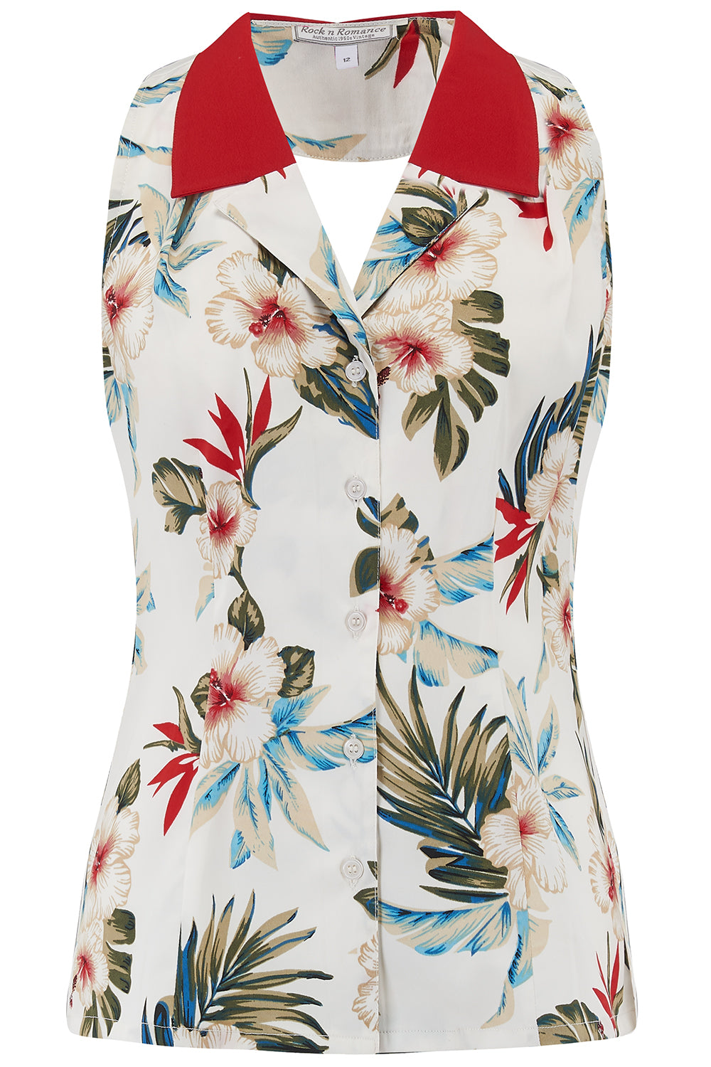 "RocknRomance Vintage Pin Up Rockabilly ""Lindy"" Halter Blouse in Hawaiian Print & Contrast Collar, Perfect 1950s Style, New for SS19"