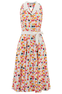 """Lindy"" Halter Dress in Bubblegum Print with Contrast Collar, Perfect 1950s Style, New for SS19"