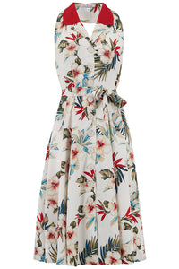 """Lindy"" Halter Dress in Hawaiian Print & Contrast Collar, Perfect 1950s Style"