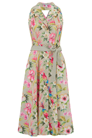 "**Pre-Order** ""Lindy"" Halter Dress in Paradise Print, Perfect 1950s Style, New for SS19"