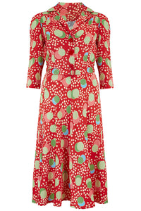 "The Seamstress Of Bloomsbury ""Lisa"" Tea Dress with 3/4 Length Sleeves in Slipper Atomic Satin Print, Authentic 1940s Vintage Style - RocknRomance Clothing"