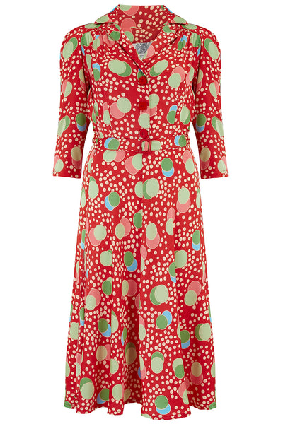 """Lisa"" Tea Dress with 3/4 Length Sleeves in Slipper Atomic Satin Print, Authentic 1940s Vintage Style"