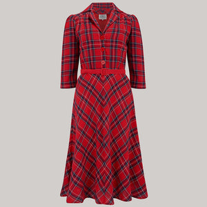 "The Seamstress Of Bloomsbury ""Lisa"" shirt Dress in Red Check, Authentic 1940s Vintage Style - RocknRomance Clothing"