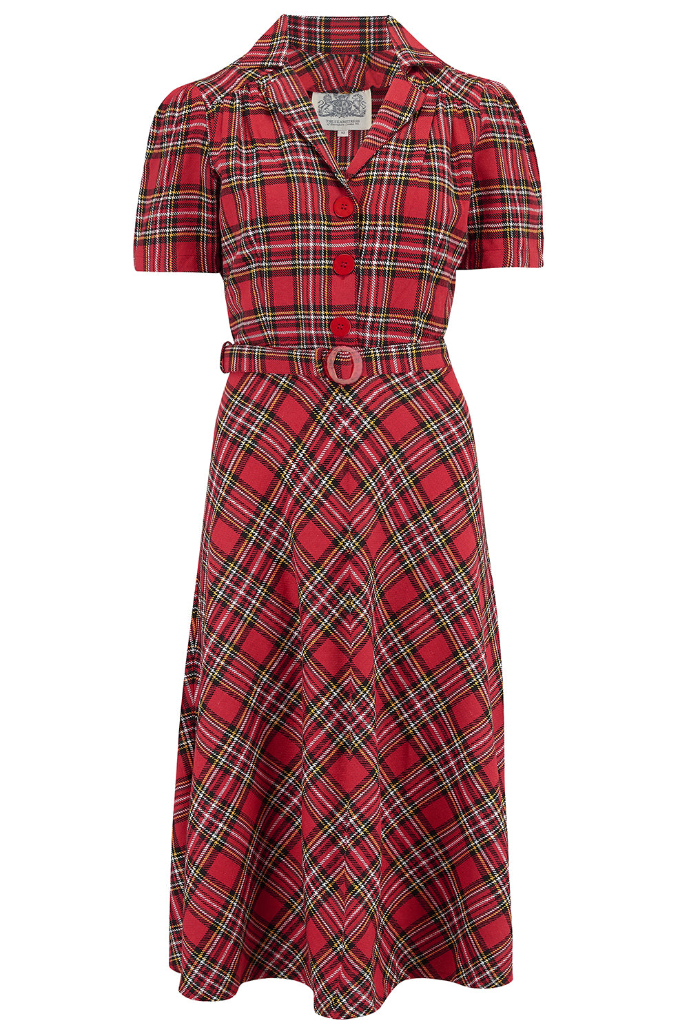1930s Style Clothing and Fashion Lisa Tea Dress in Traditional Red Tartan Authentic 1940s Vintage Style £79.00 AT vintagedancer.com