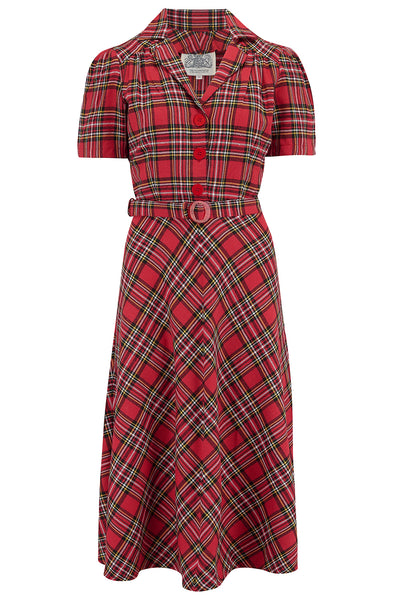 """Lisa"" Tea Dress in Traditional Red Tartan from The Seamstress Of Bloomsbury, Authentic 1940s Vintage Style at its Best"
