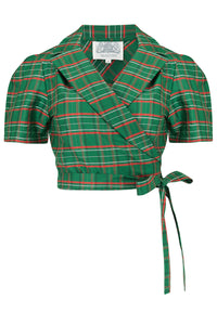 "The Seamstress Of Bloomsbury ""Greta"" Wrap Blouse in Green Taffeta Tartan, Classic 1940s Vintage Inspired Style - RocknRomance Clothing"