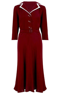 Long sleeve Lisa - Mae Dress in Wine with contrast under collar, Authentic 1940s Vintage Style at its Best - RocknRomance True 1940s & 1950s Vintage Style