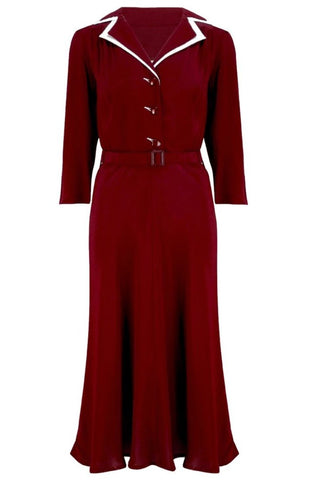 The Seamstress Of Bloomsbury Long sleeve Lisa - Mae Dress in Wine with contrast under collar, Authentic 1940s Vintage Style at its Best - RocknRomance Clothing