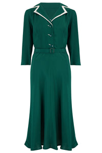 The Seamstress Of Bloomsbury Long sleeve Lisa - Mae Dress in Green with contrast under collar, Authentic 1940s Vintage Style at its Best - RocknRomance Clothing