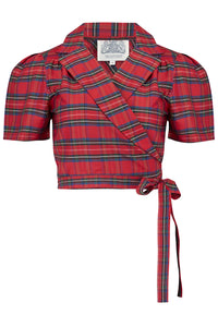"""Greta"" Wrap Blouse in Red Taffeta Tartan, Classic 1940s Vintage Inspired Style - RocknRomance True 1940s & 1950s Vintage Style"