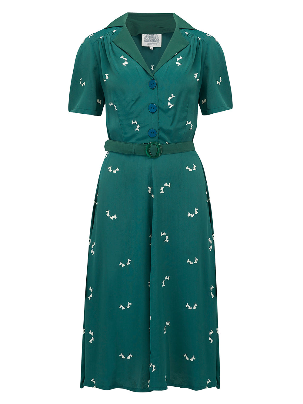 """Lisa"" Tea Dress in Green Doggy Print with Statement Collar from The Seamstress Of Bloomsbury, Authentic 1940s Vintage Style at its Best"
