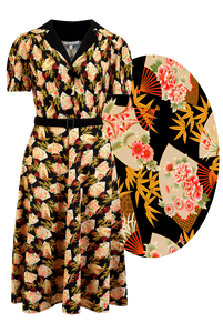 "Rock n Romance **Pre-Order** ""Lola"" Shirtwaister Dress in Oriental Fan Print, Perfect 1950s Style - RocknRomance Clothing"