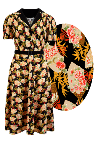 "Rock n Romance **Sample Sale** ""Lola"" Shirtwaister Dress in Oriental Fan Print, Perfect 1950s Style - RocknRomance Clothing"
