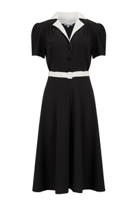 "Rock n Romance **Sample Sale** ""Lola"" Shirtwaister Dress in Solid Black with Contrast Collar, Perfect 1950s Style - RocknRomance Clothing"
