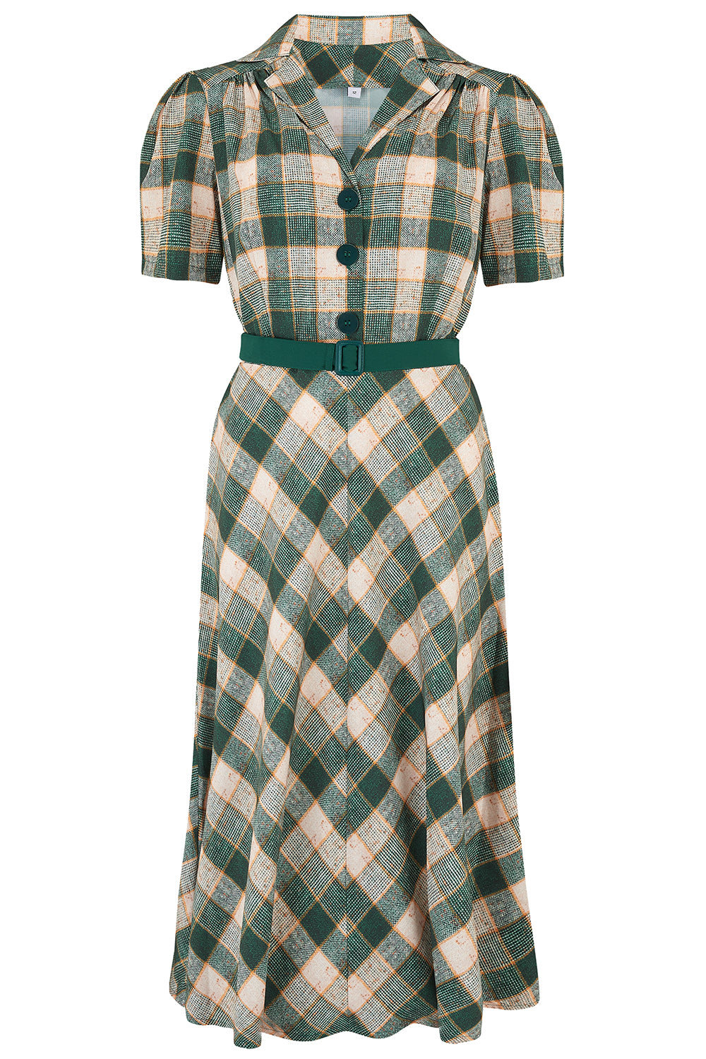 Vintage Shirtwaist Dress History Pre-Order The Lola Shirtwaister Dress in Green Check Print Perfect 1950s Authentic Vintage Style £49.00 AT vintagedancer.com